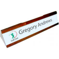 EXECUTIVE NAME PLATE HOLDER MAHOGANY SLOTS ΓΙΑ BUSINESS CARDS & PENS ΑΛΟΥΜΙΝΙΟ ΥΠΟΣΤΡΩΜΑ